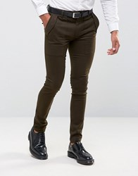 Asos Super Skinny Smart Military Style Trousers In Khaki Khaki Green