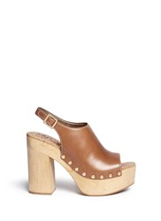 Sam Edelman 'Marley' Leather Slingback Wooden Clog Sandals Brown