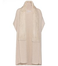 Agnona Cashmere And Mink Fur Cardigan Beige