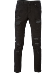 Stampd Distressed Five Pocket Jeans Black