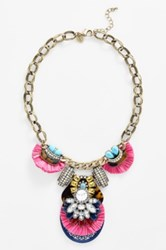 Berry Faux Tortoiseshell And Crystal Necklace Pink
