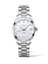 Longines Conquest Classic Diamond Mother Of Pearl And Stainless Steel Watch