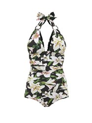 Dolce And Gabbana Lily Print Halterneck Ruched Swimsuit Black Print