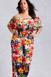Forever 21 Plus Size Tropical Jumpsuit Red Multi