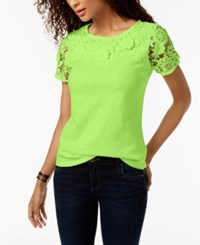 Charter Club Cotton Lace Embellished T Shirt Created For Macy's Lime Ice