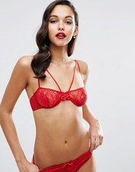 Asos Josie Fishnet And Lace Strappy Underwire Bra Red