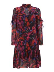 Biba Rio Print Ruffle Dress Multi Coloured Multi Coloured