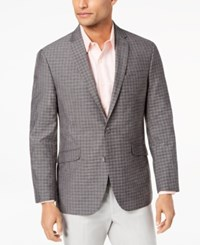 Kenneth Cole Reaction Slim Fit Brown Gray Mini Windowpane Sport Coat Online Only