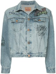 Hysteric Glamour Graphic Printed Denim Jacket Cotton Blue