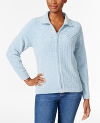 Alfred Dunner Petite Cable Knit Zip Up Cardigan Dove Blue