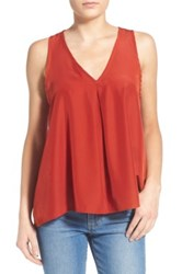 Painted Threads Pleated Tank Brown