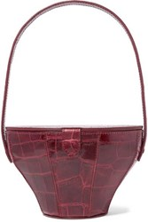Staud Alice Croc Effect Leather Tote Burgundy
