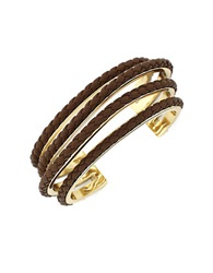 Cole Haan Four Strand Braided Leather Bracelet Brown