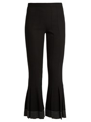 Marco De Vincenzo Fluted Hem Wool Crepe Trousers Black
