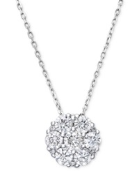 Macy's Diamond Flower Cluster Pendant Necklace In 14K White Gold 1 Ct. T.W.