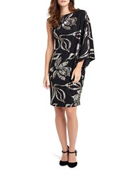 Phase Eight One Sleeve Hester Print Dress Black Gold