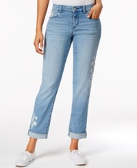 Styleandco. Style Co. Petite Embroidered Keyes Wash Boyfriend Jeans Only At Macy's