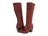 Frye Jackie Zip Tall Redwood Soft Vintage Leather Cowboy Boots Tan
