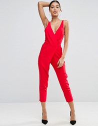 Asos Cami Wrap Jumpsuit With Peg Leg Red