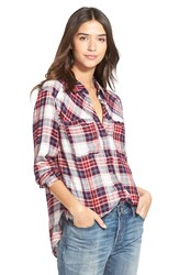 Ace Delivery Plaid Shirt Red Navy White