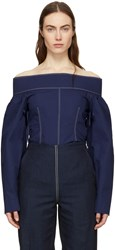 Cedric Charlier Navy Off The Shoulder Blouse