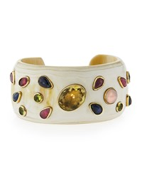 Ashley Pittman Ungana Mixed Stone Cuff Bracelet Light Horn Bronze