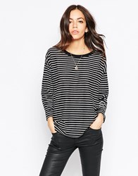 Minimum 3 4 Sleeve Striped T Shirt Black