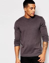 Asos Crew Neck Jumper In Grey Nep Cotton Charc W Pink Nep