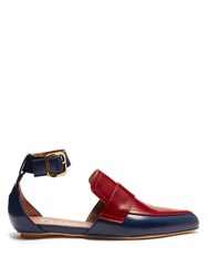Marni Cut Out Two Tone Leather Loafers Red Multi