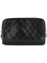 Chanel Vintage Cosmos Line Quilted Cc Cosmetics Pouch Black
