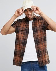 Asos Shirt In Rust Check With Double Pocket In Regular Fit Rust Brown