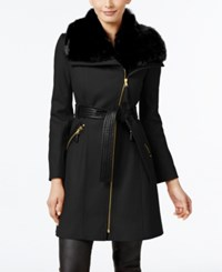 Via Spiga Faux Fur Collar Mixed Media Wool Blend Walker Coat Only At Macy's Black