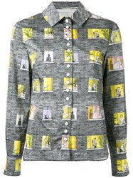 Olympia Le Tan Patchwork Patterned Shirt Cotton Grey