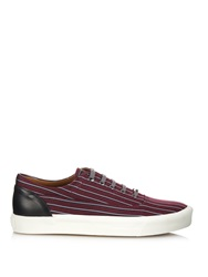 Lanvin Striped Woven Silk Low Top Trainers