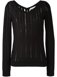 Nina Ricci Striped Knit Jumper Black