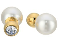 Michael Kors Pearl Tone Crystal And White Pearl Front Back Stud Earrings Gold Earring