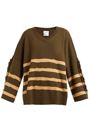 Barrie Fancy Coast Striped Cashmere Sweater Green Multi