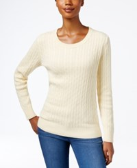 Karen Scott Crew Neck Cable Knit Sweater Only At Macy's Buttercream