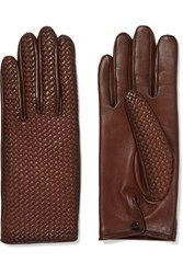 Agnelle Woven Leather Gloves Brown