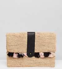 Maison Scotch Exclusive Wicker Clutch With Tassles Combo A Multi