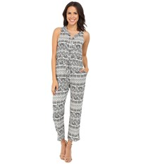 Brigitte Bailey Harlyn Sleeveless Printed Jumper Off White Black Women's Jumpsuit And Rompers One Piece Multi