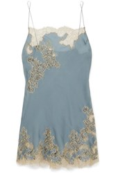 Carine Gilson Chantilly Lace Trimmed Silk Satin Chemise Blue