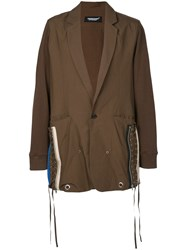 Undercover Lace Up Side Parka Coat Brown