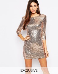 Tfnc Allover Sequin Mini Dress With Deep Back And 3 4 Sleeve Rosegoldchampagne