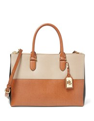Lauren Ralph Lauren Newbury Colorblock Double Zip Satchel Tan
