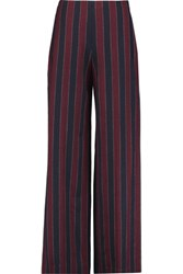 Carven Striped Woven Wide Leg Pants Burgundy