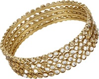 Chamak By Priya Kakkar Crystal Cabochon Bangle Set Gold