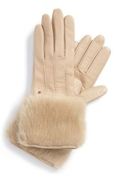 Women's Ted Baker London Leather And Faux Fur Gloves Beige