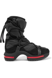 Y 3 Adidas Originals Regu Paneled Suede And Quilted Shell Boots Black