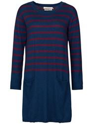 Seasalt Nivert Stripe Knitted Tunic Dress Penare Galley Wine